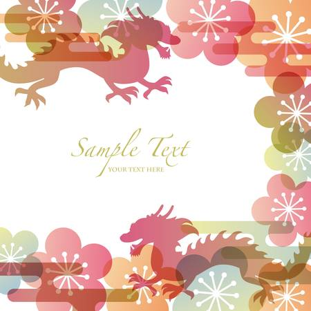 japanese apricot flower: dragon background Illustration