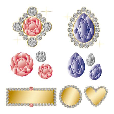 coeur diamant: ensemble de bijoux Illustration