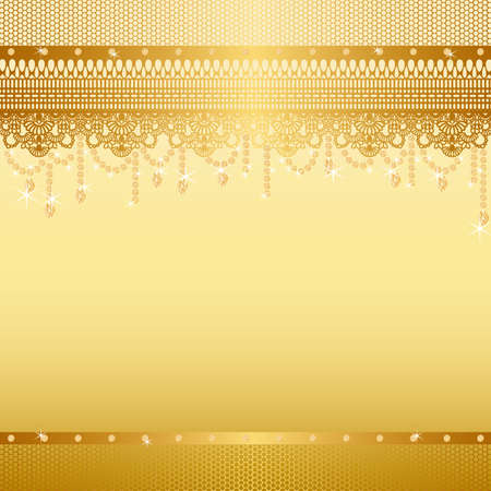 gold jewelry: jewelry and lace background Illustration