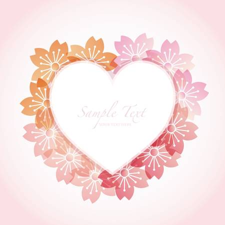 heart frame with cherry blossom Vector