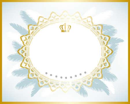 crown of light: bridal frame blue Illustration