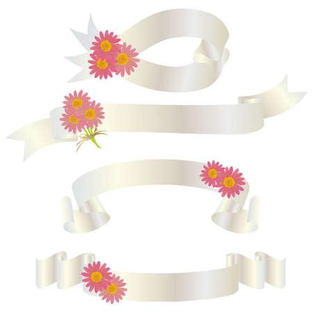 daisy ribbon Vector
