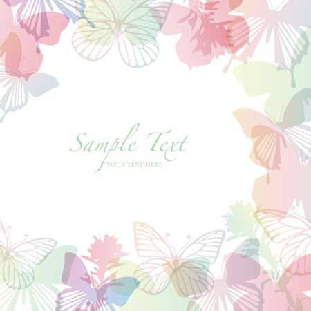 elegant frame: spring background with butterfly