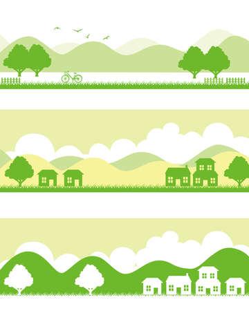 yellow hills: town Illustration