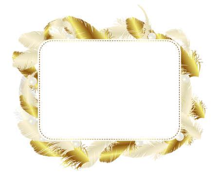 feather card gold Banco de Imagens - 11649302