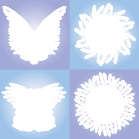 feather frame set Vector