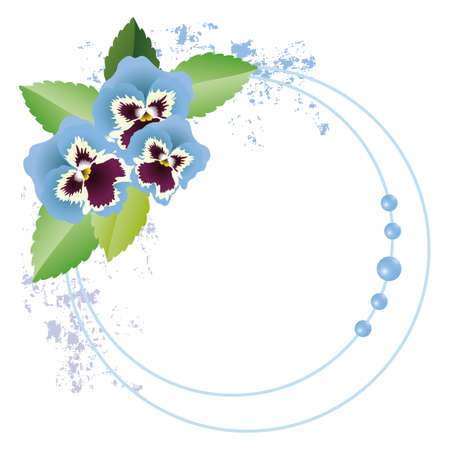 pansy frame blue Stock Vector - 11649301