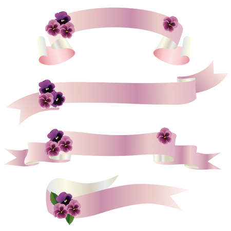 pansy ribbon Vector