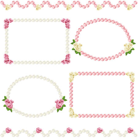 pearls: rose and pearl frame Illustration