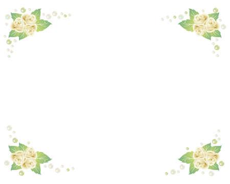 round corner: white rose and pearl frame
