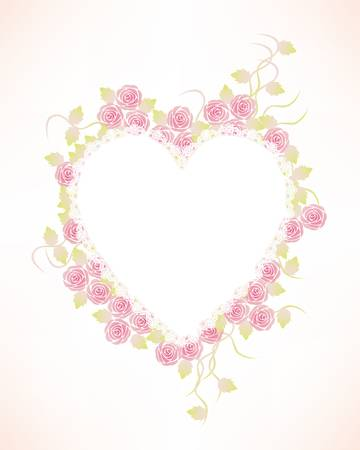 roses and hearts: classical rose heart background Illustration