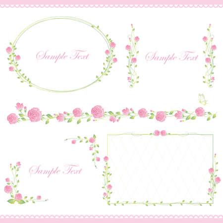 set of rose frame 向量圖像