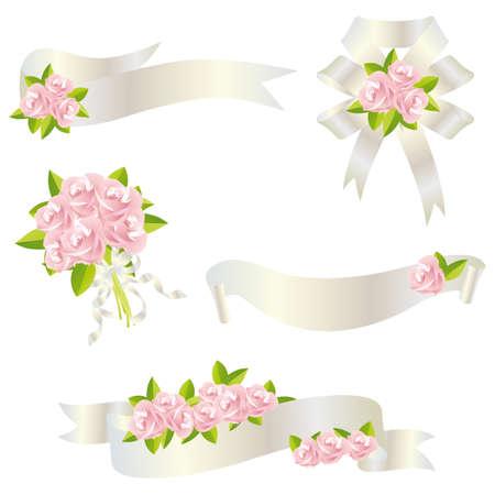 mazzo di fiori: nastro rosa Vettoriali