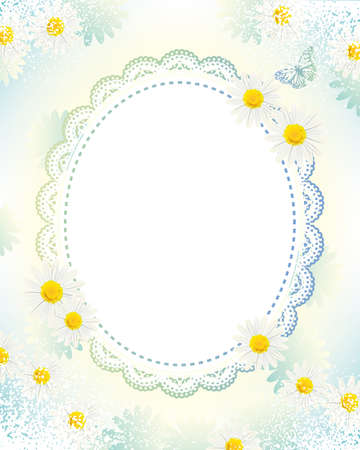 white daisies lace frame Stock Vector - 11649031