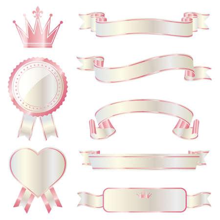 ribbon emblem set pink and white Vector