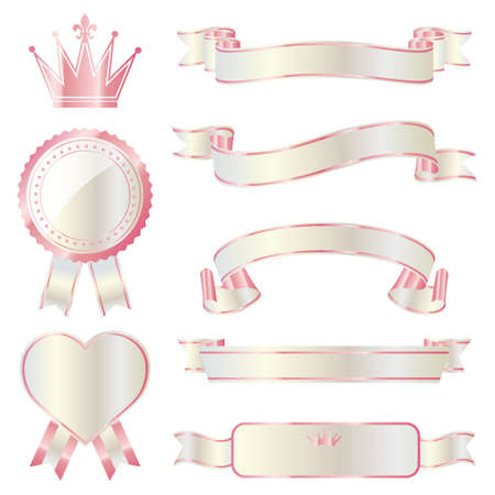 heart with crown: ribbon emblem set pink and white