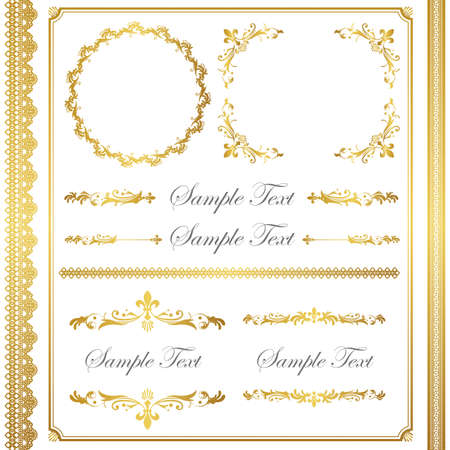 gold frame set Stock Vector - 11882775