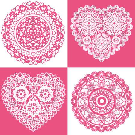 heart lace set Vector