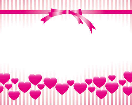 christmas pink: ribbon and heart background