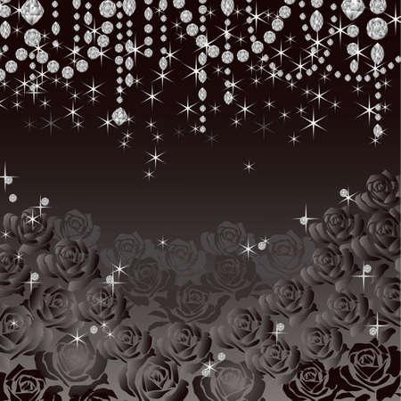 decorative accessories: jewelry rose background Illustration