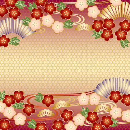 year january: japanese background red