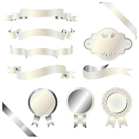 silver ribbon: set of silver and white emblem Illustration