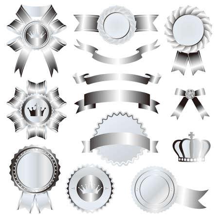 silver emblem set  イラスト・ベクター素材