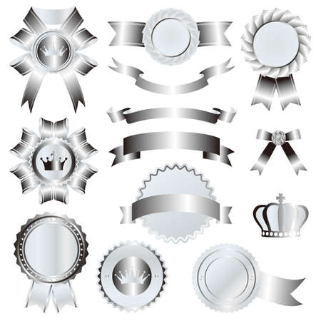 silver emblem set Stock Vector - 11991293