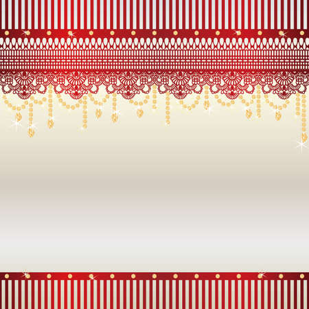 gold jewelry: lace and jewelry background Illustration