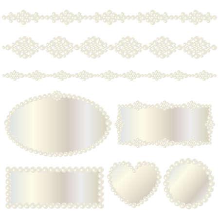 真珠のフレーム  イラスト・ベクター素材
