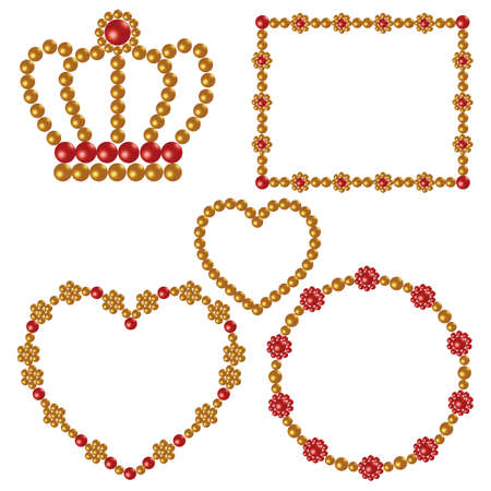 金および赤い真珠フレーム