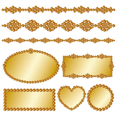 gold pearl frame Stock Vector - 11991305