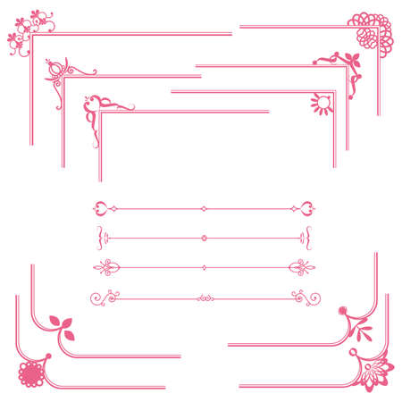 flower line: cute frame and line set Illustration