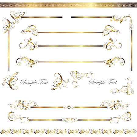 gold line and frame set Vector