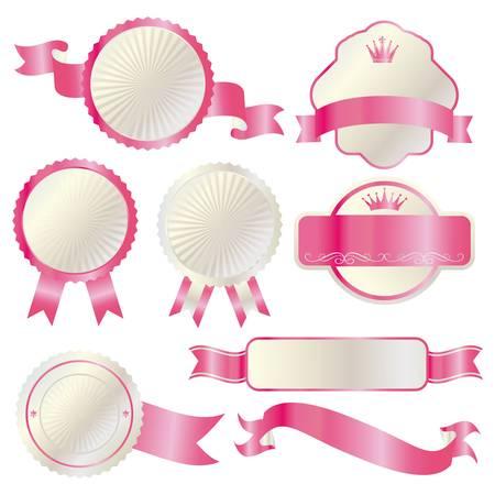 pink ribbons: frame set pink Illustration