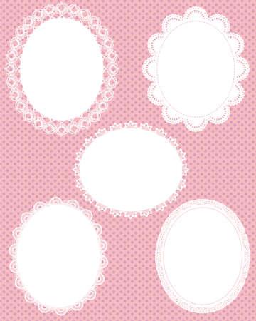 óvalo: de encaje de punto de fondo oval Vectores