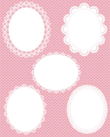 lace frame: oval lace dot background
