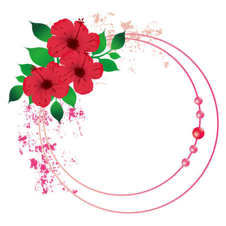 hibiscuses フレーム  イラスト・ベクター素材