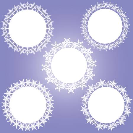 snow crystal: crystal frame circle Illustration
