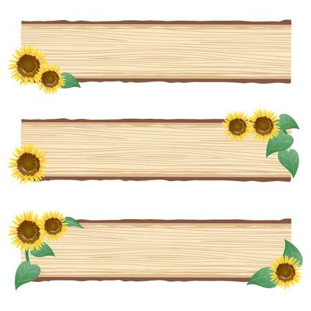ヒマワリの木製パネル  イラスト・ベクター素材