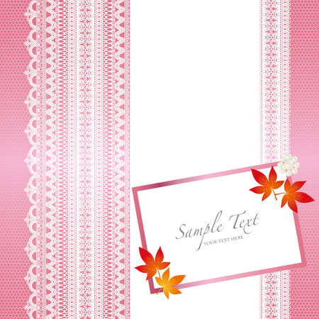 card with lace background and maple Vector