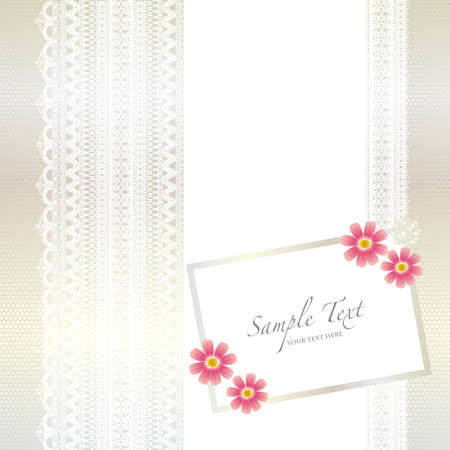 card with lace background and cosmos Vector
