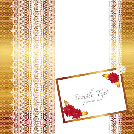 poinsettia and lace card Vector