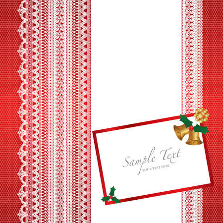 lace card with christmas bell Vector