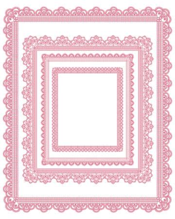 mo�os rosas: encaje cuadrado de conjunto de marcos