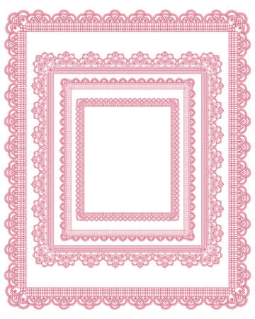 pink ribbons: square lace frame set Illustration