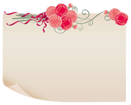 mothers day background: old paper and carnation Illustration