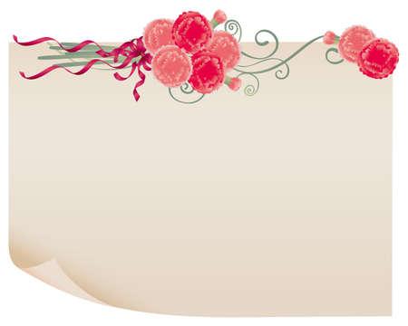 clavel: papel viejo y el clavel Vectores