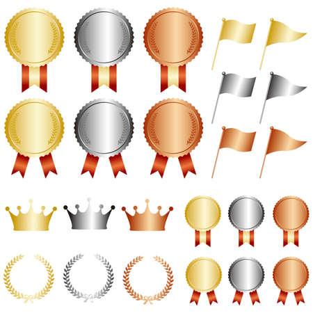 gold silver bronze medal set  イラスト・ベクター素材
