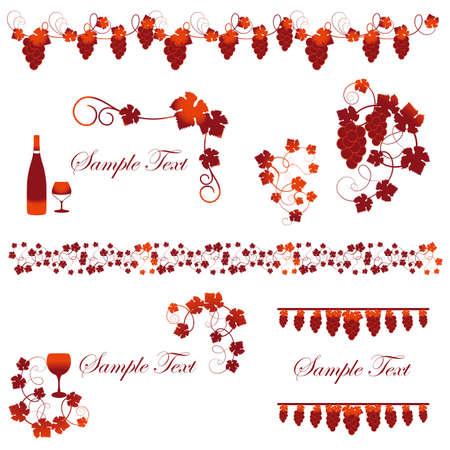 ワインとブドウのフレーム セット  イラスト・ベクター素材